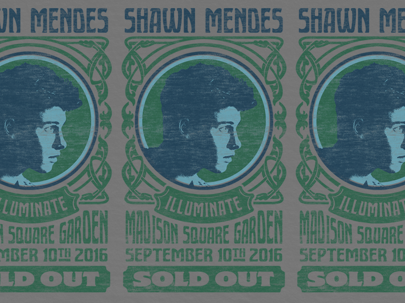 Nouveau Shawn Mendes madison gigoter show poster merch poster fillmore hippy nouveau mendes shawn