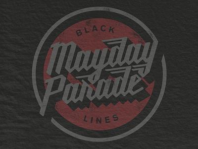 Mayday Seal mechanic script lockup stamp seal punk band merch parade badge mayday