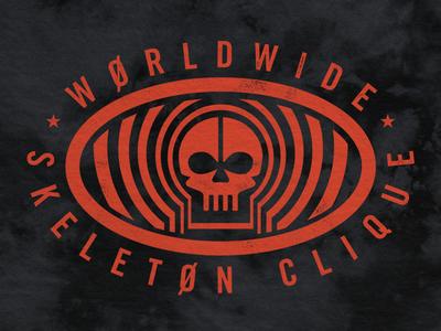 Worldwide Skeleton Clique oval badge seal trip psychedelic zone skull clique skeleton pilots one twenty