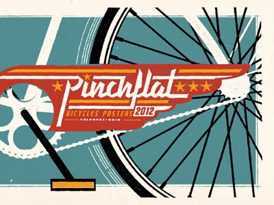 Pinchflat colorful colors wheel pinchflat poster illustration bike bicycle graphic typography logo vintage retro sporty screenprint tire
