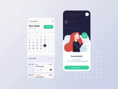 Project Management App Concept 3 animation calendar create ui concept illustration dashboard account task personal card ios android interaction team product saas app clean fintech