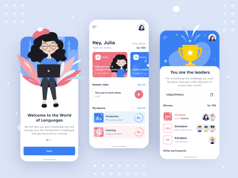Language Learning App girl application flat english dashboad ux ui product learning language concept android ios app mobile art illustration illustrator minimal clean