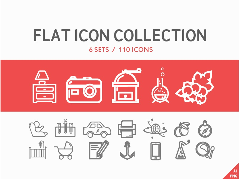 110 Flat icon collection (6 set) flat icon design web sio iso travel coffe vector collection