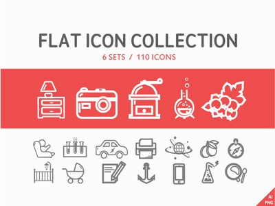 110 Flat icon collection (6 set)