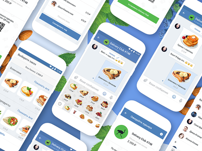 Food order concept via social network social card android ux ui simple clean interface material design development ios delivery interaction vkontakte app concept