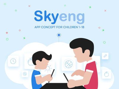 Interface of SkyEng App for Children app concept sky interaction cloud card material design development education ui english character skyeng social