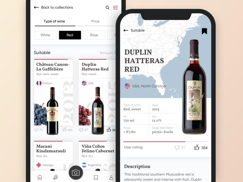 Concept App Wine ios interface wine clean ux ui concept app mobile