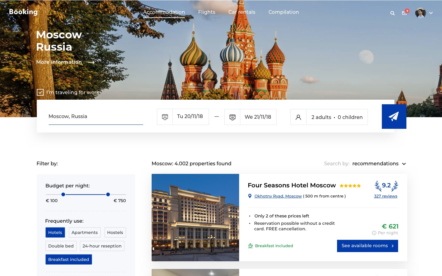 Booking hotels search 2