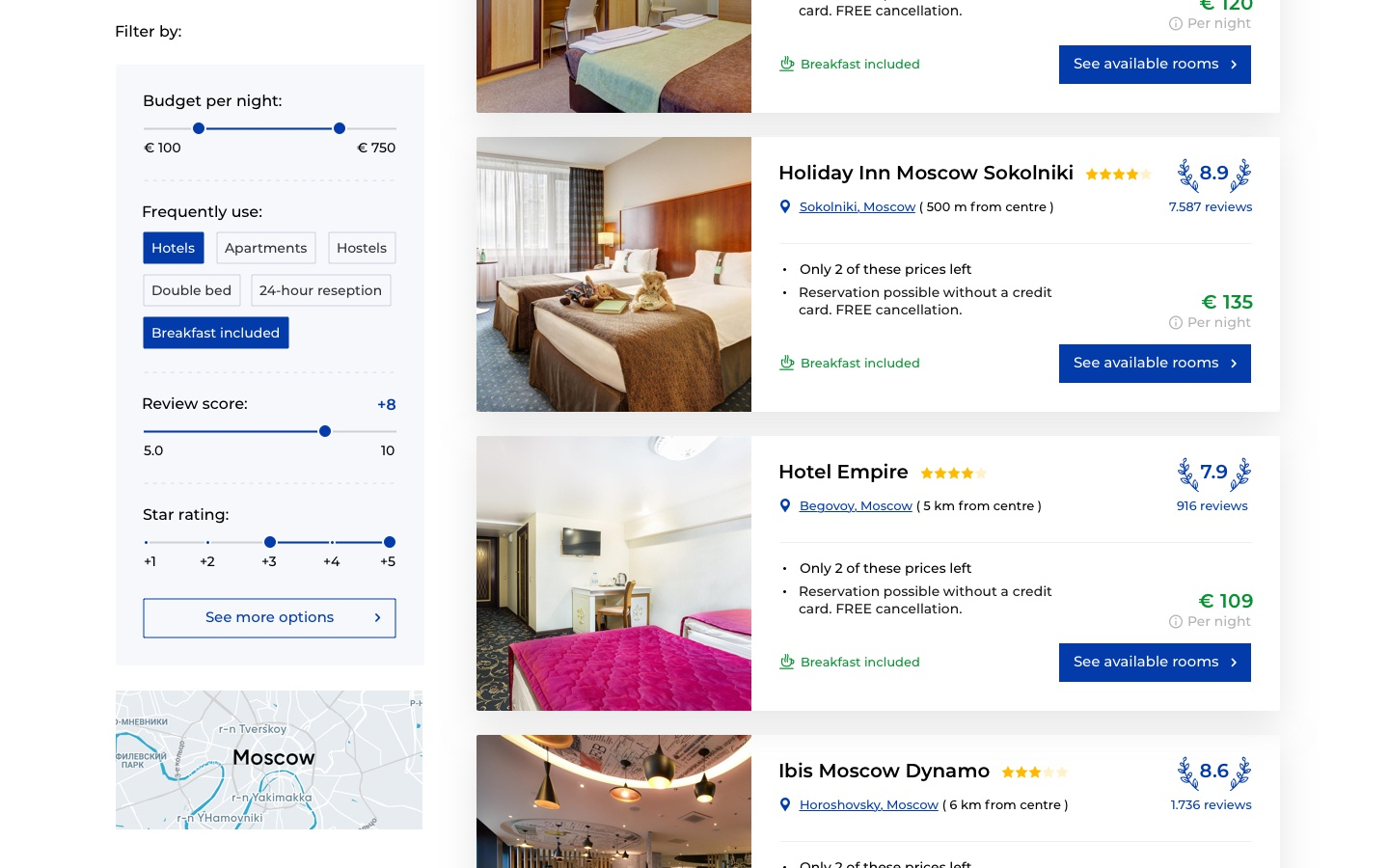 Booking hotels search 3