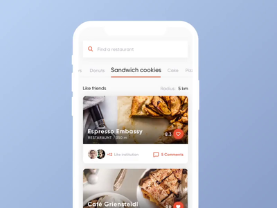 Cafe Selection App — Concept ux ui white clean motion animation cookies eat interaction transaction map taxi selection interface mobile cafe concept app