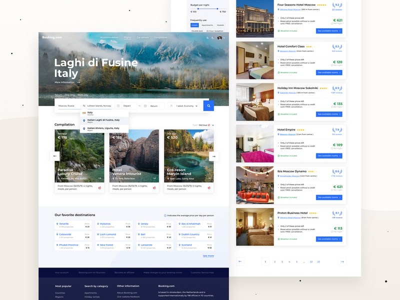 Booking.com — Redesign Concept card motion hotels filter colors minimalism clean concept ux ui booking app booking