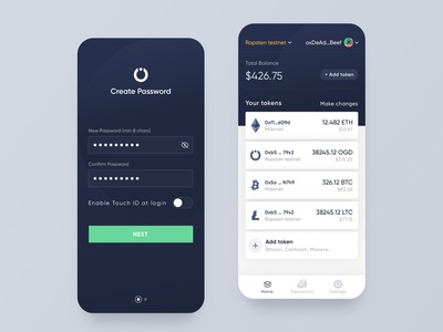 OnGrid Systems WAT crypto wallet interaction after effect motion ios product design interface crypto app mobile bank ui card
