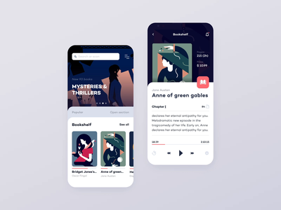 Bookstore Concept mobile application interaction laibrary store layout clean product minimal interface audio book ux ui motion animation app card