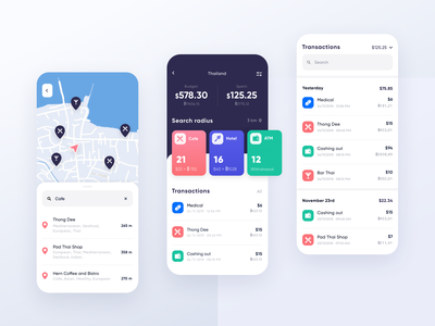 Travel App - Make yourself at home fintech interface transaction banking finance app minimal color ios transactions history map local bank credit credit limit application ux ui mobile app