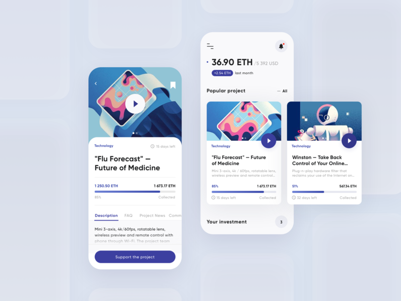 Crowdfunding App cryptocurrency crowdfunding campaign donate crowd funding crowdfunding ios interface illustration clean interaction minimal app concept ux ui