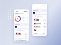Project Management App Concept fintech account concept clean dashboad interface user management ux ui piechart team task chart product saas app project management app mobile motion ios