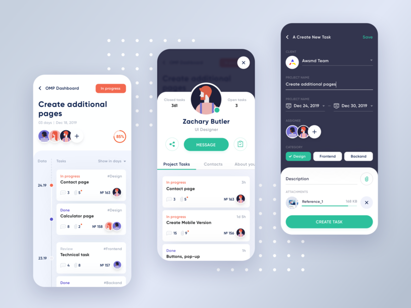 Project Management App Concept 2 fintech clean interaction saas app product interface user management team app mobile android ios card create personal task account dashboad concept ui