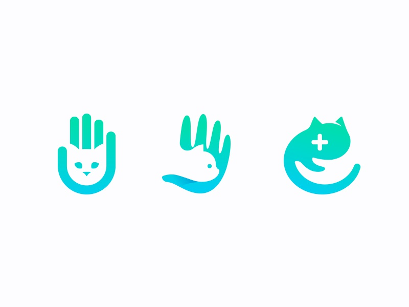 Cat x Hand mark brand logo medical care human hand cat veterinary