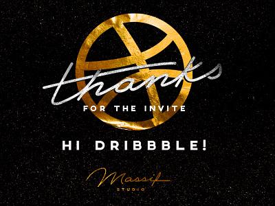 HI DRIBBBLE! texture massifstudio goldleaf 1stshot debut lettering