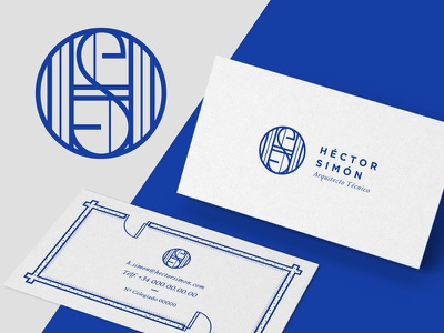 Hector Simon's indentity artdirection design monogram blue logotype brand business cards