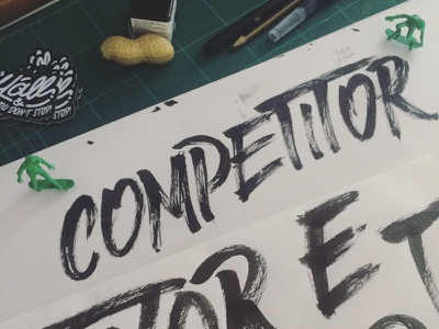 """""""Competitor"""" scketches lettering brush brushletters"""