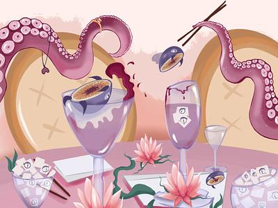 Illustration for a Chinese restaurant sushi rolls chinese chopsticks food restaurant illustrator illustration