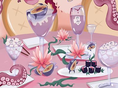 chinese restaurant octopus chinese chopsticks food cafe restaurant china rolls sushi chinese restaurant illustrator illustration