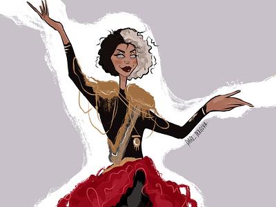 Cruella fashion person girl design character illustrator illustration