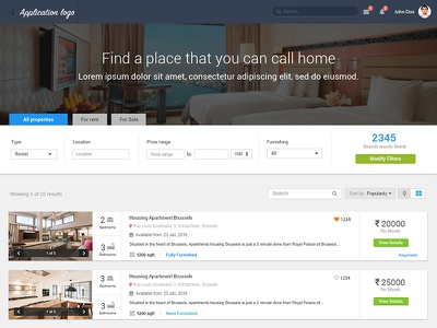 Rent a place Listing real estate cards listing wireframe ux search rent