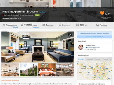Rent a place Details real estate housing details wireframe ux search rent