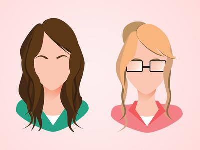 Avatar color illustrator flat illustration avatar girl