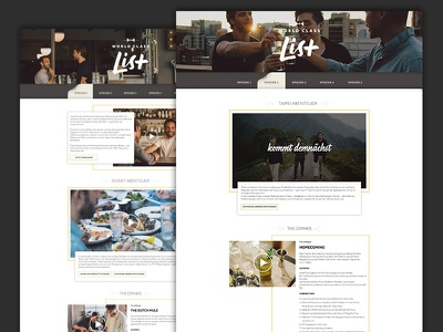 Diageo - world class list episodes series landing page drinks visual design