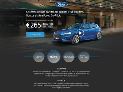Advertisement landing page concept for Ford
