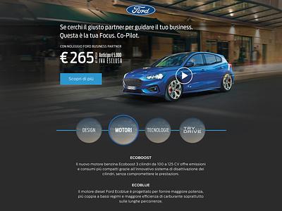 Advertisement landing page concept for Ford automobile photoshop digital design ux