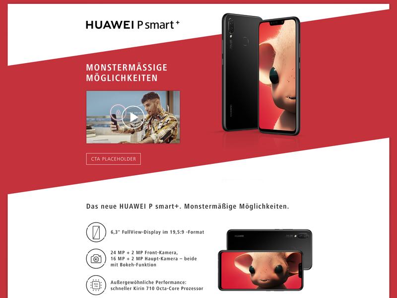 Huawei P smart+ advertisement landing page concept phone consumer electronics digital photoshop ux