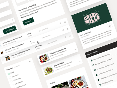 B2B Workplatform roboto product management project management tailwindcss file library brand assets recipes operations restaurant catering culinairy b2b