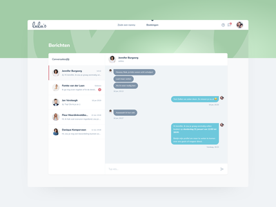Lulu's Nanny Network - Platform ux ui product search messenger messaging chat nannies web platform