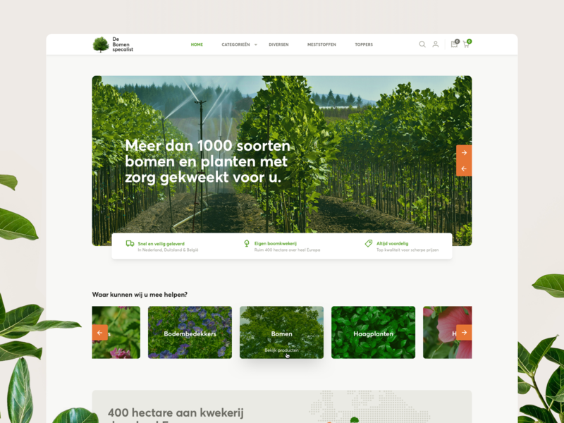 Webshop Bomenspecialist ui rounded green sf averta gardening plants trees ecommerce prestashop webshop