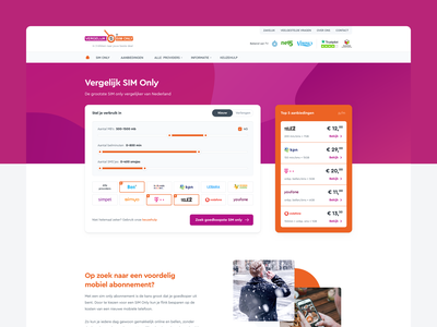 VergelijkSimOnly - Comparing SIM-Only rounded font orange purple website simonly deals compare