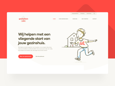 Gezinshuis.com ui illustrations familyhome children forthegood corporate website
