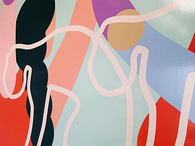 Mural Figures shapes wip dance abstract art colorscheme mural