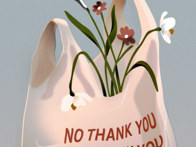 No Thank You texture reduce eco plastic bag illustration