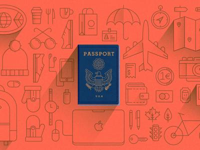 Traveling Abroad travel plane stuff passport europe vector orange eagle blue