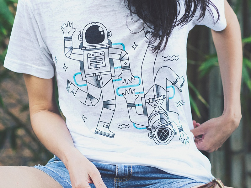 New Frontiers T-shirt tee illustration space vector astronaut diver 2 color t-shirt