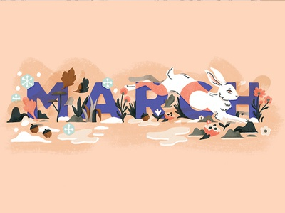 DFC March Title rabbit illustration floral march month bunny child magazine editorial