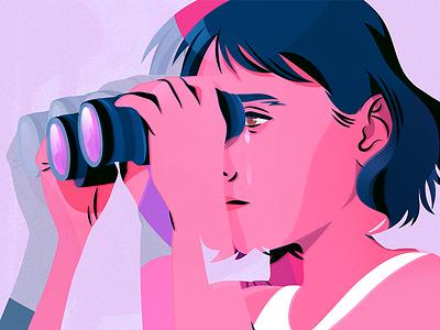 Insecurities binoculars pentadeca drawing closeup female illustration