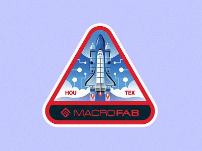 MacroFab Sticker electronics badge sticker launch shuttle space