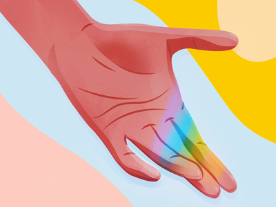 Catching Rainbows vector illustration light digital art editorial rainbows hand