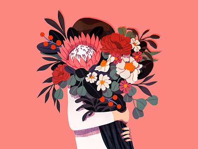 Gathering illustration bouquet flowers floral woman digital art