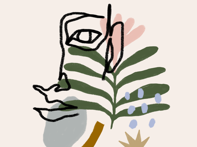 Garden abstract flower garden art single line illustration